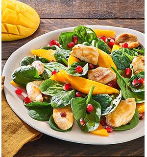 Pousses d'éépinard en salade, grenade, poulet et mangue