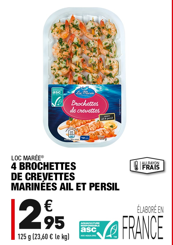4 brochettes de crevettes