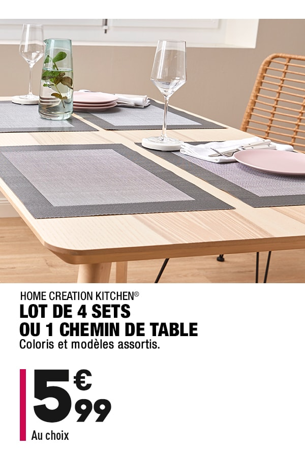 Lot de 4 sets ou 1 chemin de table